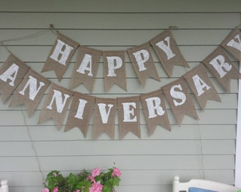 Happy anniversary burlap banner. Made by a work from home veteran.