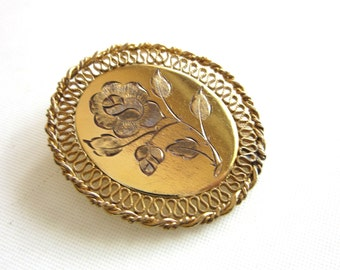 Winard Brooch 12K Gold Filled Etched Flower