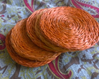 Orange raffia coasters (6) - Vintage 1970s