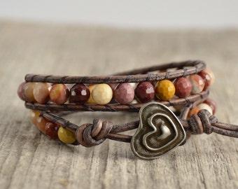 Earth tone double wrap bracelet. Mookaite stone bead bracelet