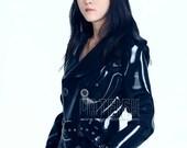 Unisex Adult Rubber Latex Long Kyra Raincoat with Belt, Sexy Jacket