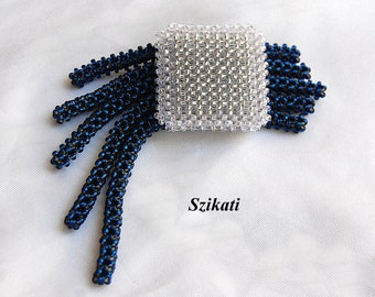 FREE SHIPPING Dark Blue/Crystal Seed Bead Brooch, Beadwoven Fashion Jewelry, Right Angle Weave, Women's Beaded Accessory, Gift for Her, OOAK