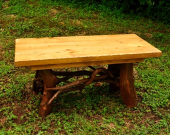 Rustic Tree Trunk Wood Handmade Coffee Cocktail Table Log Cabin Furniture by J. Wade FREE SHIPPING golden