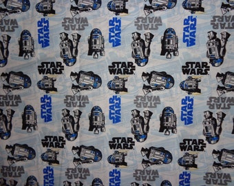 29 Inches White Star Wars Robot Cotton Fabric Remnant