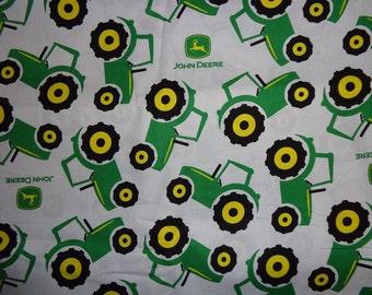 Green John Deere Sketch Toss Cotton Fabric by the Yard