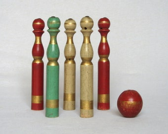 Adorable Set of Very Vintage French Wooden Skittles Pins and Ball