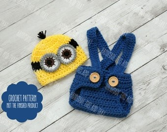 Crochet Minion Beanie and Diaper Cover pattern from ...
