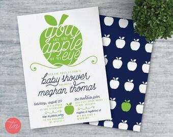 Apple of My Eye Printable 5x7 Baby Shower Invitation. Apple of my eye Baby Shower. Boy or girl baby shower invite.
