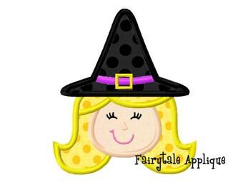 Digital Machine Embroidery Design - Witch Applique