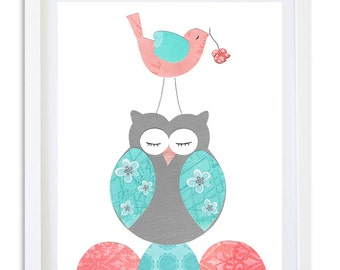Coral turquoise nursery print, bird owl nursery print, nursery decor, kids room wall art,  nursery art,  - Coral Sweet Dreams