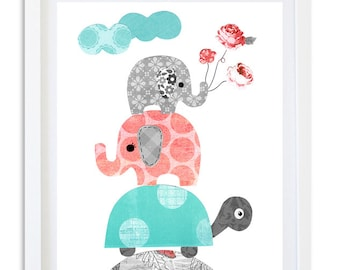 Coral and Turquoise nursery print, elephant print, nursery decor, kids room wall art,  nursery art,  - Coral Elephant and Turquoise Turtle