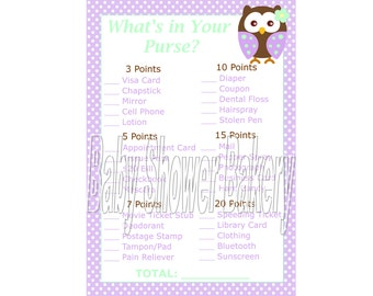 Owl Baby Shower Game, Purple Owl Baby Shower Game, What's in Your Purse Game, Purple Owl Theme Baby Shower Printable Game, Instant Download