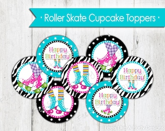 Roller Skating Cupcake Toppers - Instant Download
