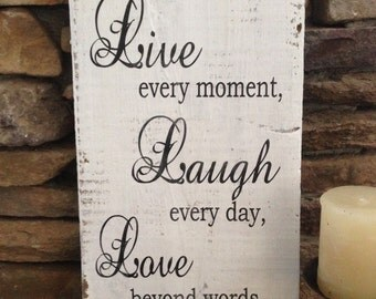 Live Laugh Love, Wood Sign 12 x 5