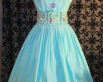 SALE 1950's Vintage 3 piece Set: Top Blouse Skirt Embroidery belt VLV Rockabilly Pinup S