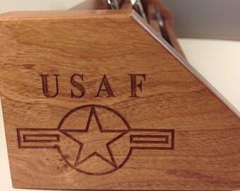 Natural Cherry & Oak  USAF Challenge Coin Display Holder Holds 15-21 Coins