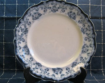 Flow Blue Plate, by Myott, Son & Co., England, Grovsvenor Pattern, Roses and Scrolls