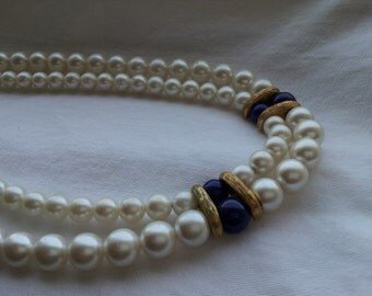 vintage Napier pearls with blue lapis / double strand of pearls with gold tone clasp / classic faux pearls have gold and blue accents