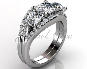Platinum three stone diamond engagement ring, bridal set, wedding ring, anniversary ring, engagement set  ER-1102