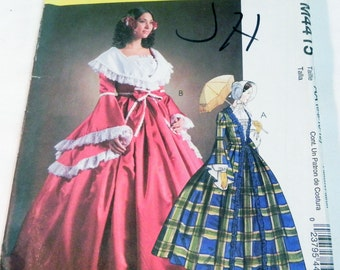 """Civil War Era Gown reproduction costume sewing pattern Halloween McCalls 4415 Size 6 8 10 12 Bust 30.5 31.5 32.5 34"""" UNCUT FF"""