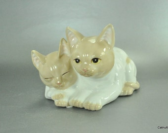 Seymour Mann Kitty Cat Figurine Vintage Connoisseur Collection Tan White