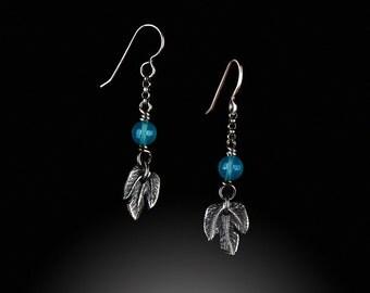 Fine silver leaf and chalcedony drop earrings
