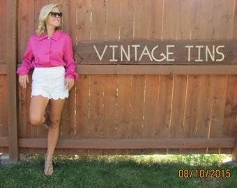 vintage hot pink polka dot blouse. pink blouse, fushcia shirt, pink button down shirt, pink clothing, pretty pink shirt, polka dot blouse