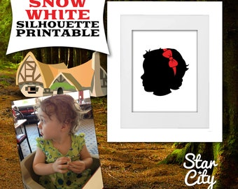 Custom Silhouette Portrait, Snow White Custom Silhouette Art, Digital Printable Download, Gift for a Girl, Custom Silhouette art, wall art