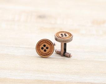 Carpe Diem (Sieze the Day) Button Wood Cufflinks