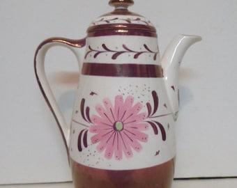 Vintage Purple & Pink Floral Lusterware Teapot Old Castle England