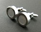 Silver silk mens cuff links - 12th or 4th anniversary cufflink set – silk anniversary gift – mans accessories silver tone cuff links gift