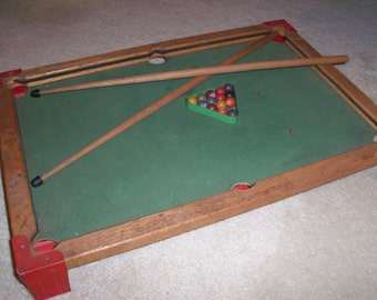 Antique 1920's Modern Boy Toy Billiards Pool Table Game