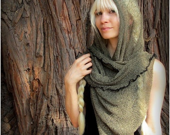 Festival Hood Cowl ~ Post Apocalyptic Burning Man Playa Wear ~ Sheer Knit Mesh Sweater Poncho Scarf  ~ Khaki Green, White Cream, Black,