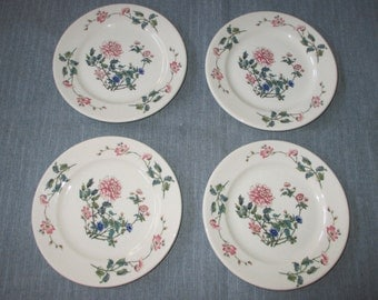 4 Syracuse China Bread & Butter Plates, Pink Peony, Blue Flowers, 1950s