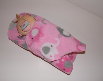 Elephant Print Swaddling Doll Blanket for Baby Alive, Bitty Baby, Baby Stella and More, Child's Toy, Doll Bunting, Doll Blanket, Swaddler