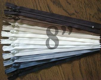 "nylon zippers colorful zippers 8"" zippers ykk zippers 8 inch zips 10 ykk zips assorted zippers wholesale zippers sampler pack zipper"