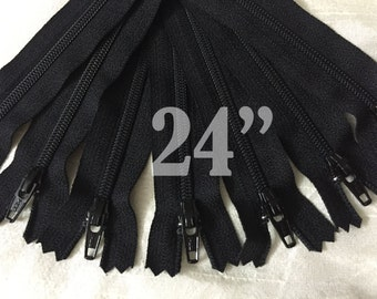 "24"" zippers ykk zippers nylon zippers black zippers wholesale zippers sampler pack zipper 24 inch ykk zippers bulk zippers 10 pieces"
