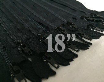 10 pieces of 18 inch zippers ykk zippers nylon zippers black zippers 18 inch zips wholesale zippers 18 inch black zippers