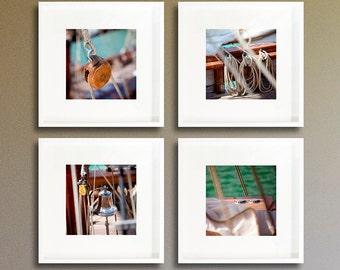 Bathroom decor art/set of 4 prints/beach house decor/sea photography/print poster/nautical boat decor/turquoise fine art/personalized decor