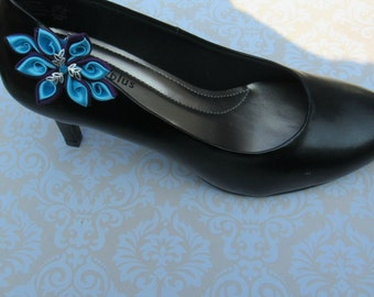 Plum purple and Turquoise Kanzashi Flower Shoe Clips