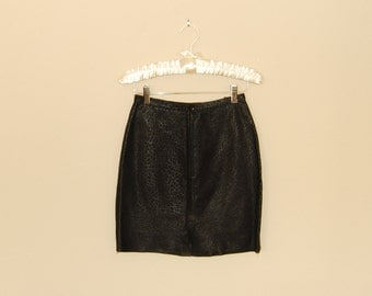 Black Leopard Print Leather Mini-Skirt -  Early 90s