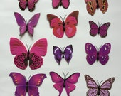 6/12 pc Butterfly Magnets/Home and Wall Decor with optional foam stickers