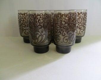Libbey Rock Sharpe Prado 14 Ounce Tumbler Brown Scrolls Set of 5