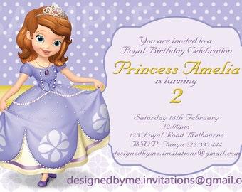 Sofia the First theme Birthday Invitation - DIY Printing