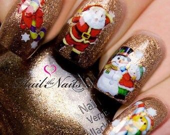 Nail WRAPS Nail Art Water Transfers Decals Christmas Santa Snowmen Y017 Salon Quality