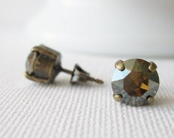 Dark Brown Stud Earrings Topaz Rhinestone Studs Fall / Autumn Jewellery Bridesmaid Earrings Swarovski Elements Bronze Shade Minimalist Studs