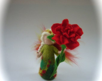 Hand-felted. Wet  felted. Waldorf. Felted. Rose flower fairy.flower child.
