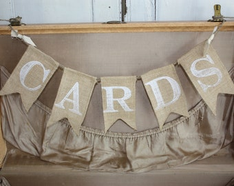 CARDS Burlap Banner - White Font