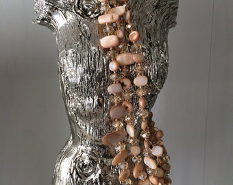 Crystal and mother of pearl necklace
