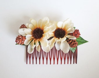 Autumn Sunflower Comb-Fall Wedding Hair Accessory-Fall Bridal Comb-Sunflower Comb-Rustic Wedding Comb- Boho Bridal Comb